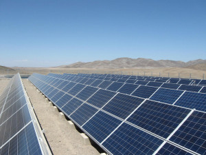 Solar panels for direct water pumping system at El Totoral, in the Atacama desert (Chile)